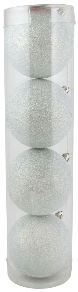 "4"" (100mm) Large Commercial Shatterproof Ball Ornament, Snowball Glitter, Case, 48 Pieces"