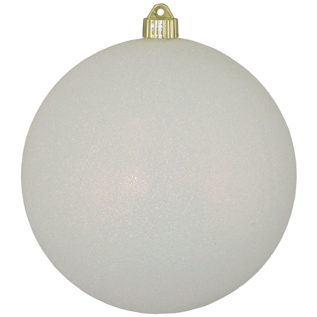 "8"" (200mm) Giant Commercial Shatterproof Ball Ornament, Snowball Glitter, Case, 6 Pieces"
