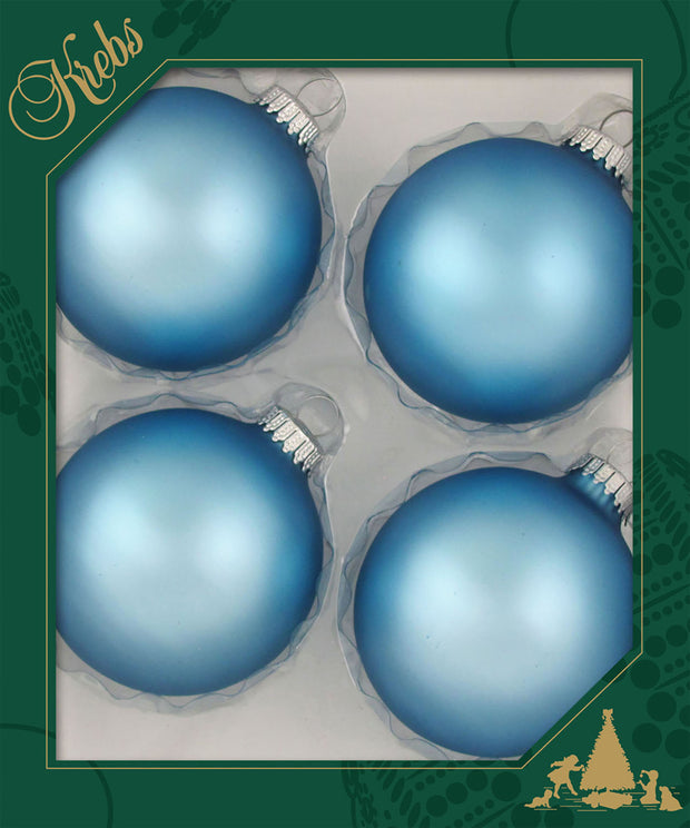 "3 1/4"" (80mm) Ball Ornaments, Silver Caps, Alpine, 4/Box, 12/Case, 48 Pieces"