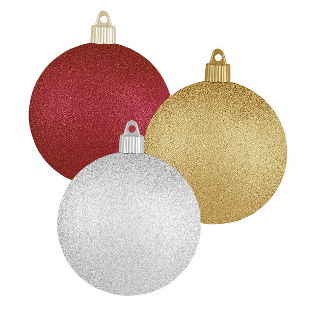 "2 1/3"" (60mm) Shatterproof Christmas Ball Ornaments, Silver / Gold / Red, Case, 16 Count x 12 Tubs, 192 Pieces"