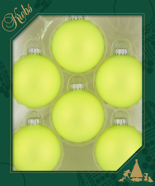 "2 5/8"" (67mm) Ball Ornaments, Silver Caps, OMG Yellow, 6/Box, 12/Case, 72 Pieces - Christmas by Krebs Wholesale"