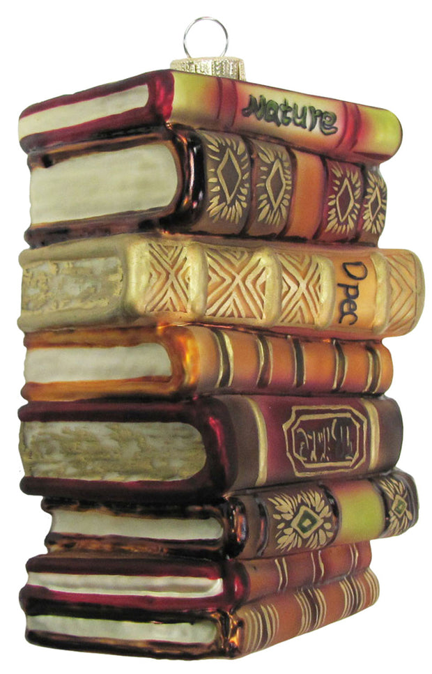 "4"" (100mm) Stack of Books Figurine Ornaments, 1/Box, 6/Case, 6 Pieces - Christmas by Krebs Wholesale"