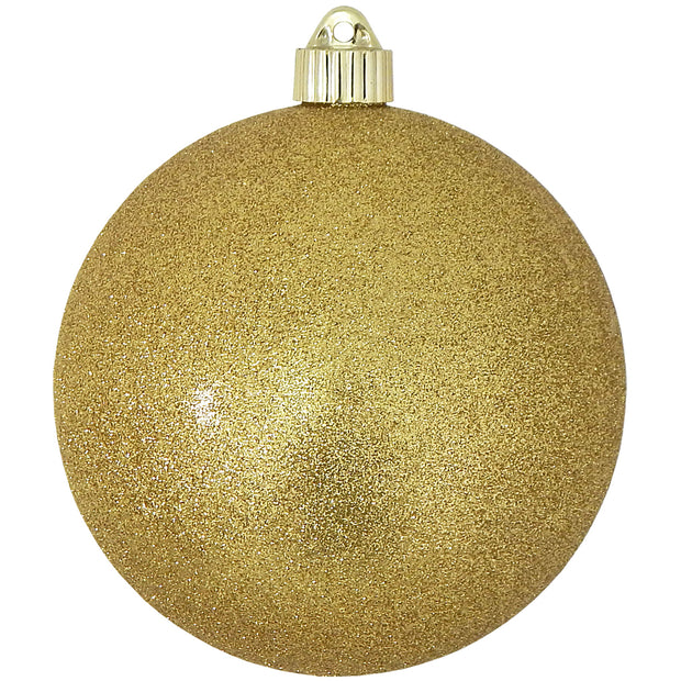"6"" (150mm) Giant Commercial Shatterproof Ball Ornament, Gold Glitter, Case, 12 Pieces"