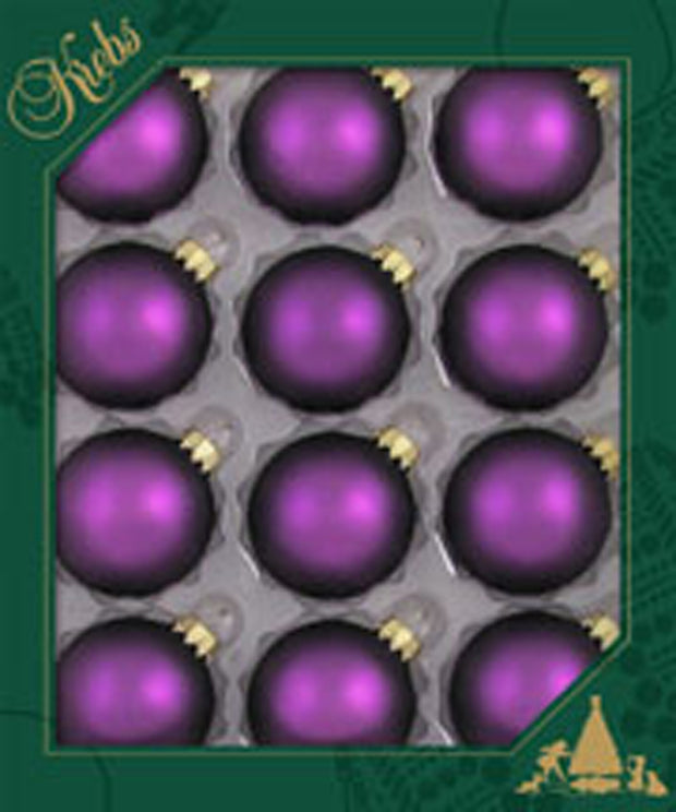 "2"" (50mm) Ball Ornaments, Gold Caps, Purple Magic, 12/Box, 12/Case, 144 Pieces - Christmas by Krebs Wholesale"