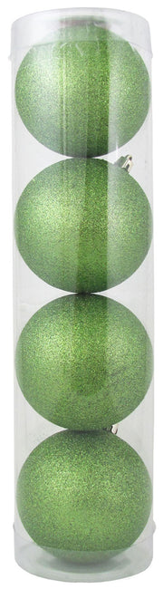 "4"" (100mm) Large Commercial Shatterproof Ball Ornament, Lime Glitter, Case, 48 Pieces"