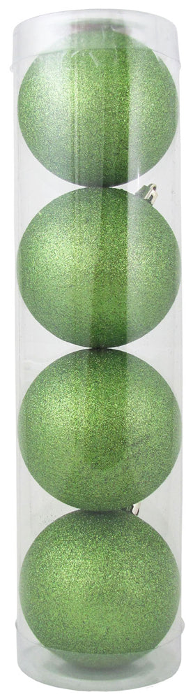 "4"" (100mm) Shatterproof Ball Ornaments, Lime Glitter, 4/Ea, 12/Case, 48 Pieces"