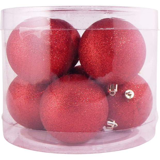 "3 1/4"" (80mm) Commercial Pre-Wired Shatterproof Ball Ornament, Red Glitter, Case, 80 Pieces"