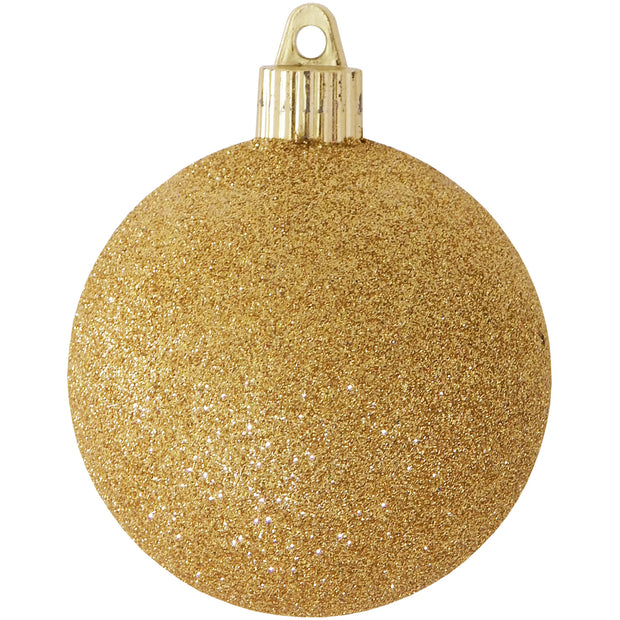 "3 1/4"" (80mm) Commercial Pre-Wired Shatterproof Ball Ornament, Gold Glitter, Case, 80 Pieces"