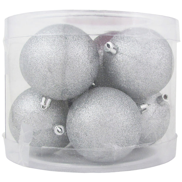 "3 1/4"" (80mm) Commercial Pre-Wired Shatterproof Ball Ornament, Silver Glitter, Case, 80 Pieces"