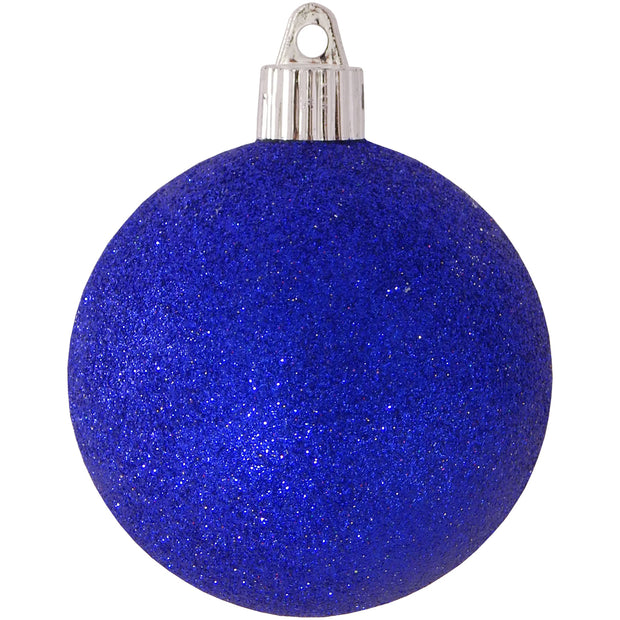 "3 1/4"" (80mm) Commercial Pre-Wired Shatterproof Ball Ornament, Dark Blue Glitter, Case, 80 Pieces"