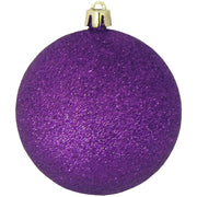 "3 1/4"" (80mm) Commercial Shatterproof Ball Ornament, Purple Glitter, Case, 80 Pieces"