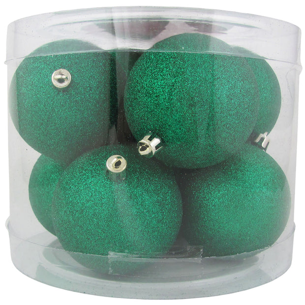 "3 1/4"" (80mm) Commercial Pre-Wired Shatterproof Ball Ornament, Emerald Glitter, Case, 80 Pieces"