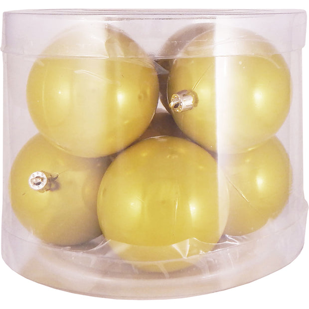 "3 1/4"" (80mm) Commercial Shatterproof Ball Ornament, Fierce Yellow, Case, 80 Pieces"