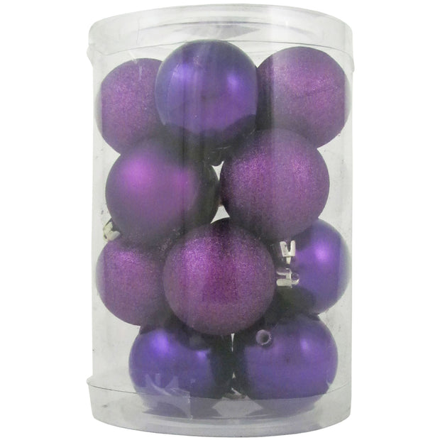 "2 1/3"" (60mm) Shatterproof Christmas Ball Ornaments, Purple Multi, Case, 16 Count x 12 Tubs, 192 Pieces"