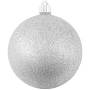 "6"" (150mm) Giant Commercial Pre-Wired Shatterproof Ball Ornament, Silver Glitter, Case, 12 Pieces"