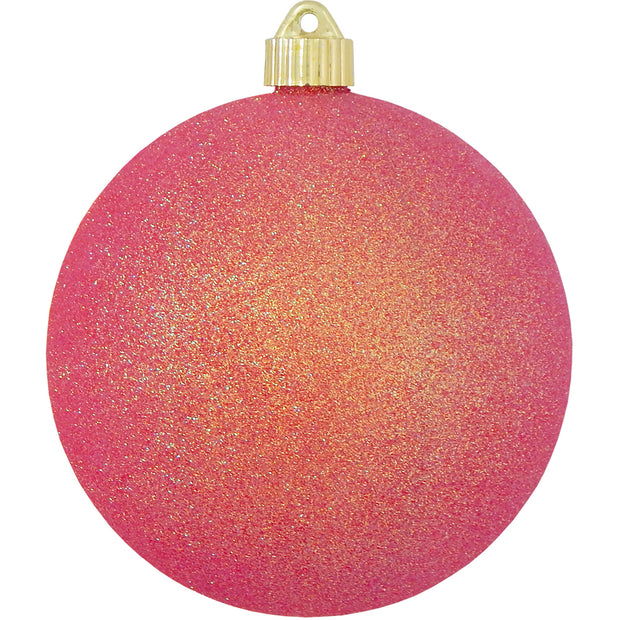 "6"" (150mm) Large Commercial Shatterproof Ball Ornaments, Fire Glitter, 1/Box, 12/Case, 12 Pieces - Christmas by Krebs Wholesale"