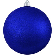"6"" (150mm) Giant Commercial Pre-Wired Shatterproof Ball Ornament, Dark Blue Glitter, Case, 12 Pieces"