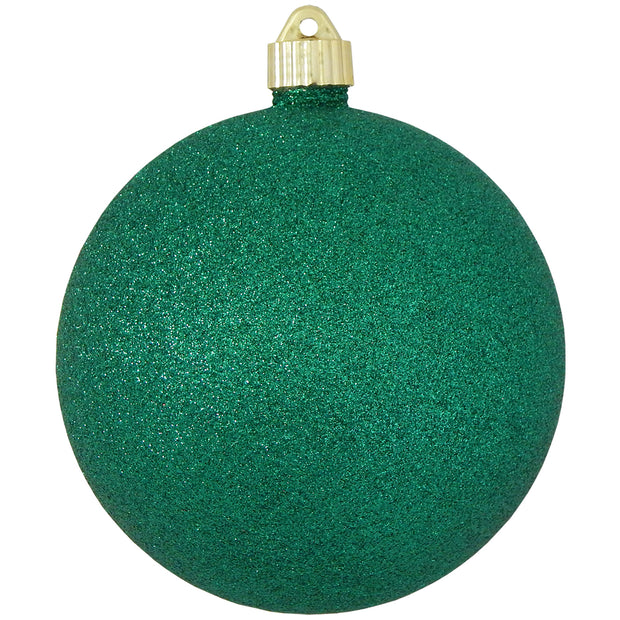 "6"" (150mm) Giant Commercial Pre-Wired Shatterproof Ball Ornament, Emerald Glitter, Case, 12 Pieces"