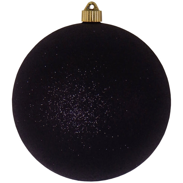 "8"" (200mm) Giant Commercial Shatterproof Ball Ornament, Black Glitter, Case, 6 Pieces"