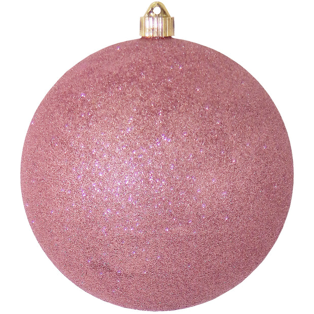 "8"" (200mm) Giant Commercial Shatterproof Ball Ornament, Rose Glitter, Case, 6 Pieces - Christmas by Krebs Wholesale"