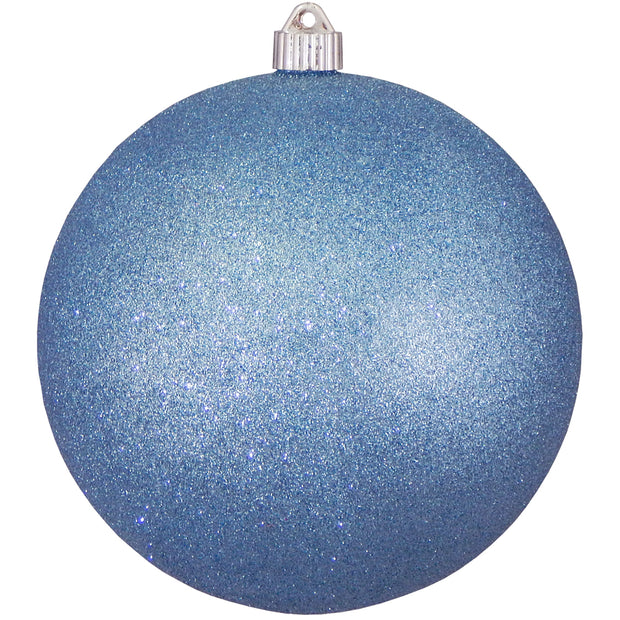 "8"" (200mm) Giant Commercial Shatterproof Ball Ornament, Light Blue Glitter, Case, 6 Pieces"