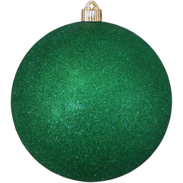 "8"" (200mm) Giant Commercial Pre-Wired Shatterproof Ball Ornament, Emerald Glitter, Case, 6 Pieces"