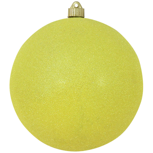 "8"" (200mm) Giant Commercial Shatterproof Ball Ornament, Neon Yellow Glitter, Case, 6 Pieces"