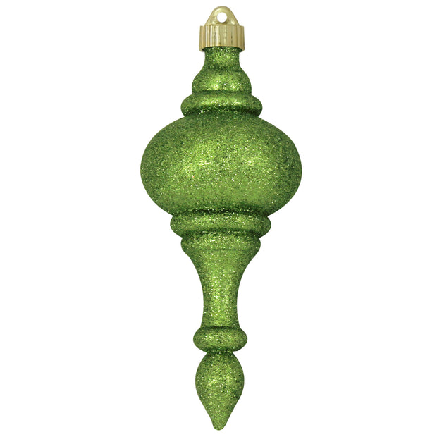 "8 2/3"" (220mm) Large Commercial Shatterproof Finials, Lime Glitter , Case, 12 Pieces - Christmas by Krebs Wholesale"