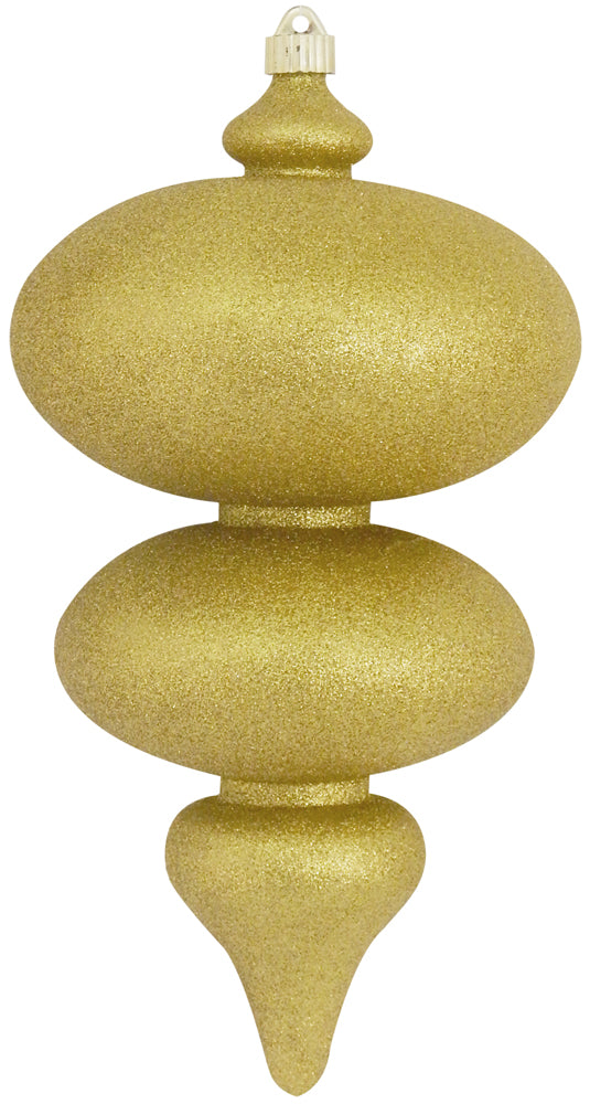"15"" (380mm) Giant Commercial Shatterproof Finials, Gold Glitter, Case, 4 Pieces"
