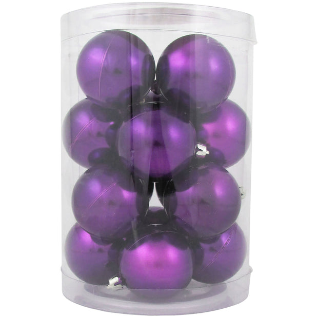 "2 1/3"" (60mm) Shatterproof Christmas Ball Ornaments, Vivacious Purple, Case, 16 Count x 12 Tubs, 192 Pieces"