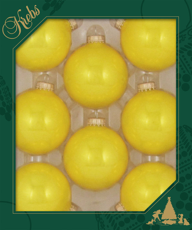 "2 5/8"" (67mm) Ball Ornaments, Gold Caps, Yellow/Gold, 8/Box, 12/Case, 96 Pieces"