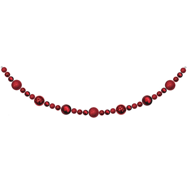 10' Giant Commercial Shatterproof Ball Garland, Red, Case, 1 Piece
