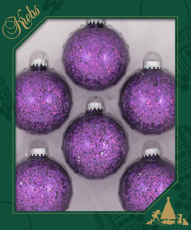 "2 5/8"" (67mm) Ball Ornaments, Silver Caps, Amethyst Spangle, 6/Box, 12/Case, 72 Pieces"