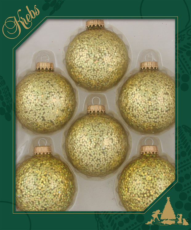 "2 5/8"" (67mm) Ball Ornaments, Gold Caps, Gold Spangle, 6/Box, 12/Case, 72 Pieces"