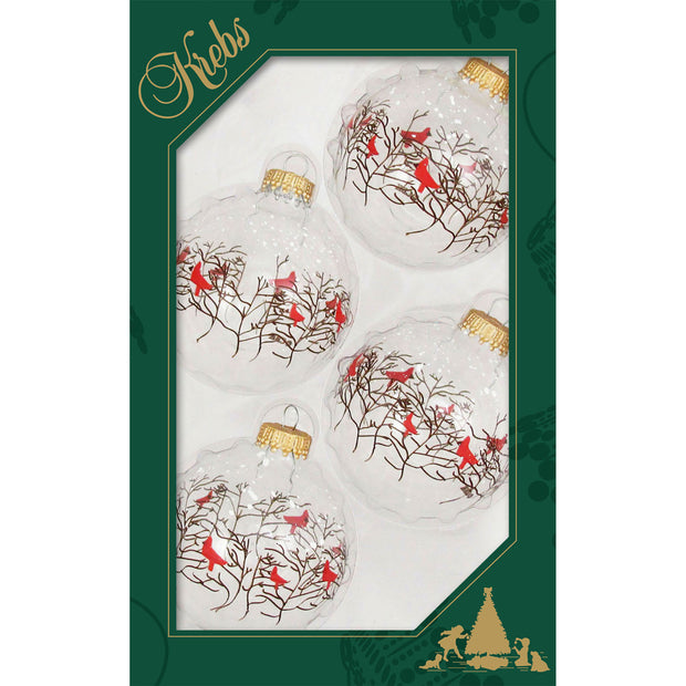 "2 5/8"" (67mm) Ball Ornaments, Branches and Cardinals, Clear, 4/Box, 12/Case, 48 Pieces"