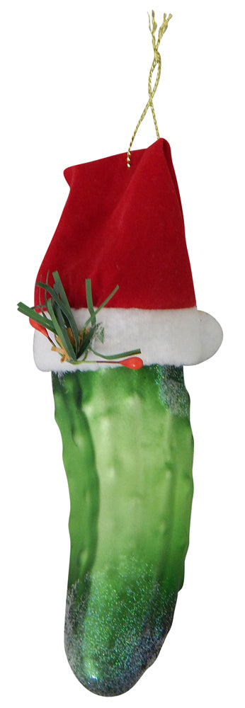 "5 1/2"" (140mm) Christmas Pickle with Santa Hat Figurine Ornaments, 1/Box, 6/Case, 6 Pieces"