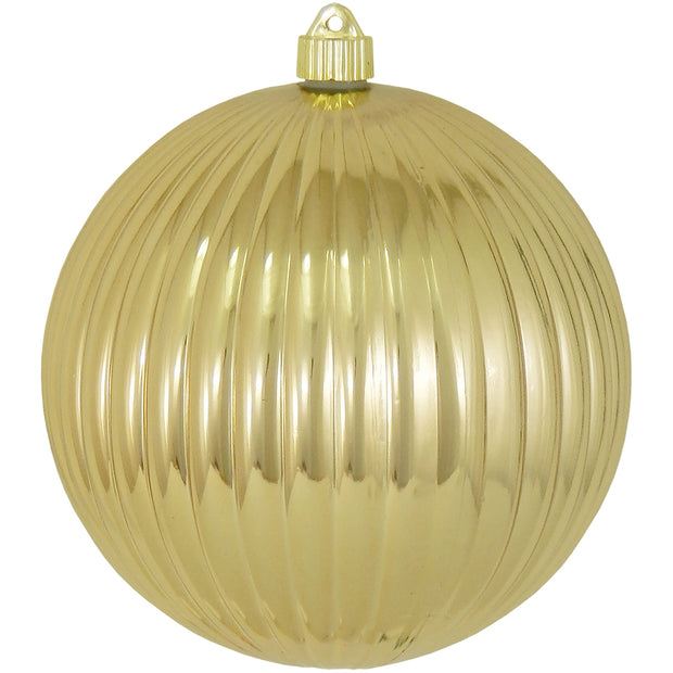 "8"" (200mm) Giant Commercial Shatterproof Ball Ornament, Gilded Gold, Case, 6 Pieces"