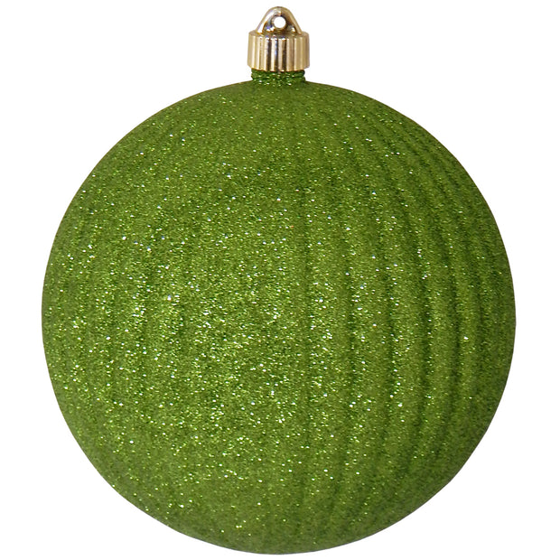 "8"" (200mm) Giant Commercial Shatterproof Ball Ornament, Lime Glitter, Case, 6 Pieces"