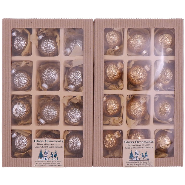 "2"" (50mm) Ball Ornaments, Mercury Glass, Silver/Gold, 12/Box, 6/Case, 72 Pieces"
