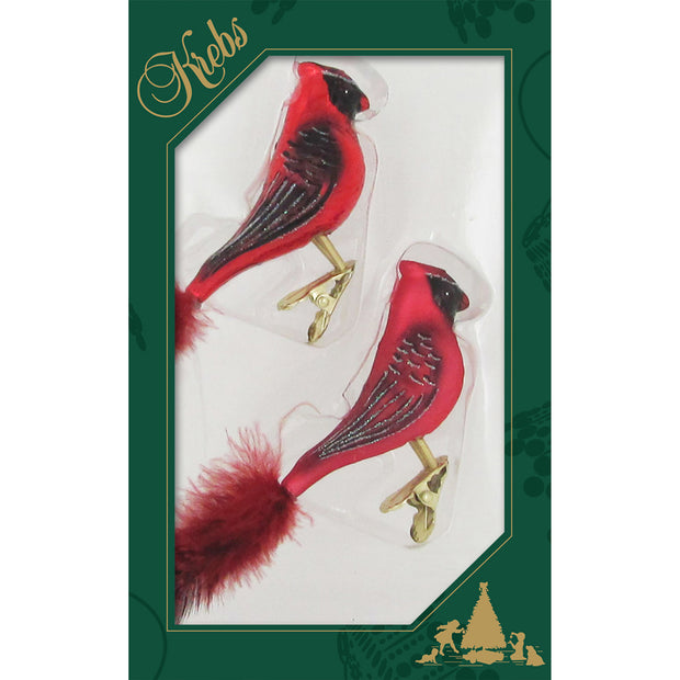 "6"" (150mm) Clip-On Cardinals Figurine Ornaments, 2/Box, 12/Case, 24 Pieces"