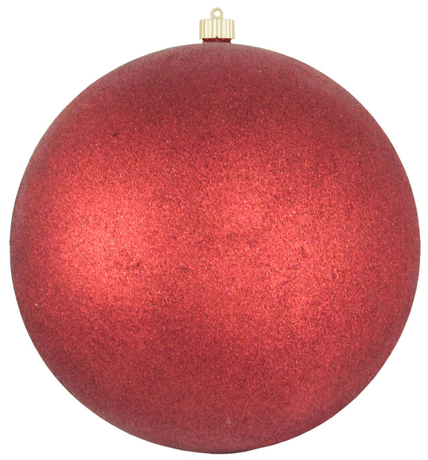 "12"" (300mm) Giant Commercial Shatterproof Ball Ornament, Red Glitter, Case, 2 Pieces   Christmas by Krebs Wholesale"