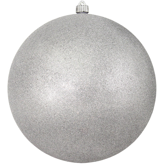 "12"" (300mm) Giant Commercial Shatterproof Ball Ornament, Silver Glitter, Case, 2 Pieces"