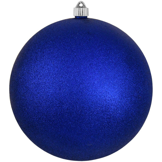 "10"" (250mm) Giant Commercial Shatterproof Ball Ornament, Dark Blue Glitter, Case, 4 Pieces"