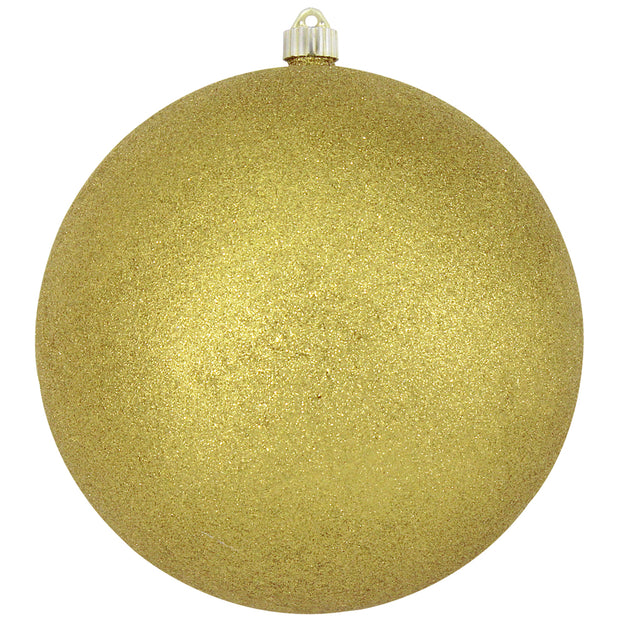 "10"" (250mm) Giant Commercial Shatterproof Ball Ornament, Gold Glitter, Case, 4 Pieces"
