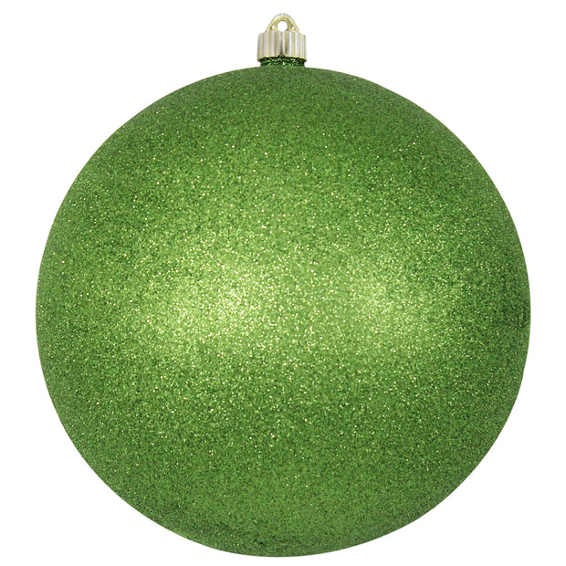 "10"" (250mm) Giant Commercial Shatterproof Ball Ornament, Lime Glitter, Case, 4 Pieces"