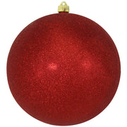 "10"" (250mm) Giant Commercial Shatterproof Ball Ornament, Red Glitter, Case, 4 Pieces"