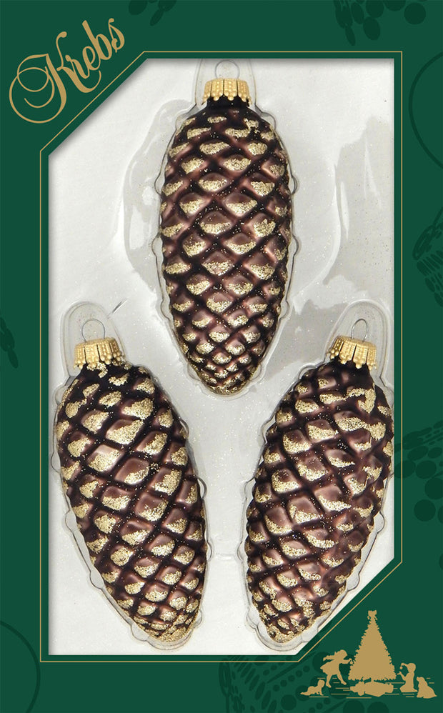 "4"" (100mm) Branch Pinecones Figurine Ornaments, 3/Box, 12/Case, 36 Pieces"