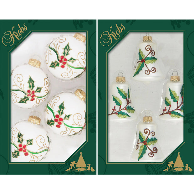 Bells and Balls with Holly Assortment, 4/Box, 12/Case, 48 Pieces - Christmas by Krebs Wholesale