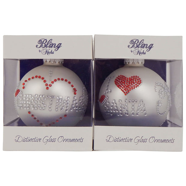"3 1/4"" (80mm) Ball Ornaments, Rhinestone Text, Silver Pearl, 1/Box, 12/Case, 12 Pieces"