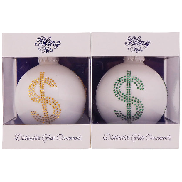 "3 1/4"" (80mm) Ball Ornaments, Dollar Sign, White/Multi, 1/Box, 12/Case, 12 Pieces"